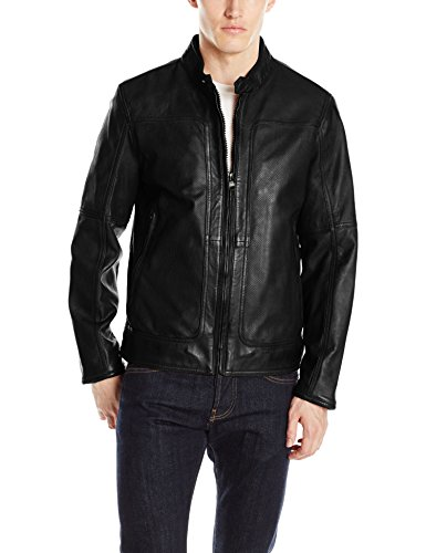 "Andrew Marc Men's Maurice-26.5"" Sheep Band Collar Moto Jacket"