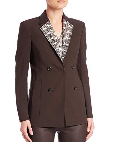 Akris Womens Punto Snakeskin & Leather Collar Wool Jacket, 14