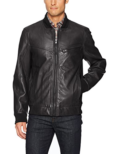 "Andrew Marc Men's Martense-26.5"" Sheep Bomber Jacket, Jet Black, XX-Large"
