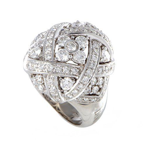 Damiani 18K White Gold Diamond Pave Lattice Ring