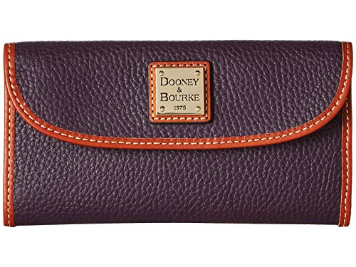 Dooney & Bourke Pebble Leather Continental Clutch Plum Wine
