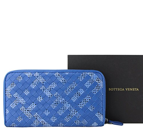 Bottega Veneta Woven Blue Leather Zip Around Wallet