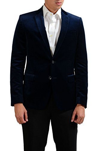 Versace Collection Navy Two Button Men's Velour Blazer