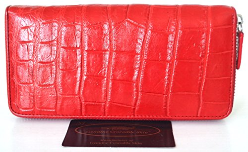 Authentic Belly Crocodile Skin Clutch Wallet Zipper Shiny Red New