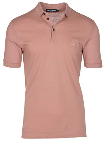 Dolce & Gabbana Men's Light Pink Crown 'Corona' Short Sleeve Polo Shirt