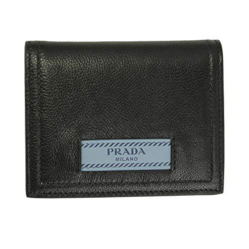 Prada Black Leather Bii-fold Wallet Nero/Astrale