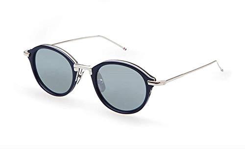 Sunglasses THOM BROWNE Navy-Silver w/Dark Grey-Silver Mirror-
