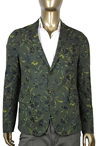 Gucci Floral Blazer Green Cotton Two Button Jacket