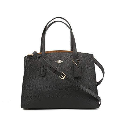 COACH Women's Polished Pebble Leather Charlie Carryall Li/Black One Size