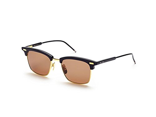 Sunglasses THOM BROWNE Navy18K Gold w/ Dark Brown-AR