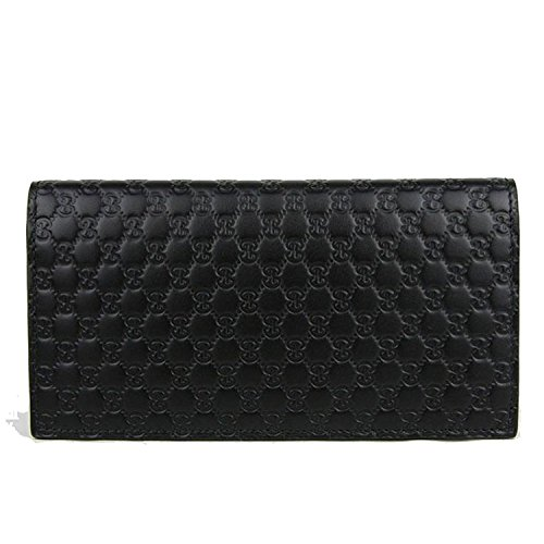 Gucci GG Guccissima Leather Long Flap Wallet Black
