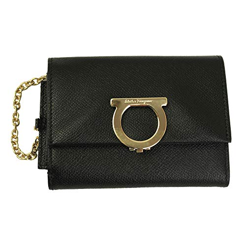 Salvatore Ferragamo Gancini Black Leather Bifold Wallet Nero