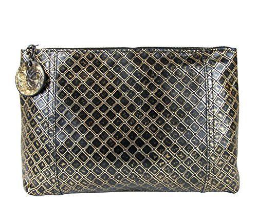 Bottega Veneta Intrecciomirage Gold/Black Leather Clutch Pouch Bag
