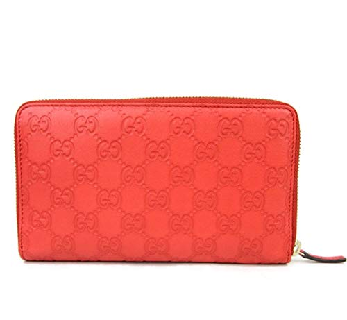 Gucci Unisex Coral Red Guccissima Leather Wallet Zip Around Travel Clutch