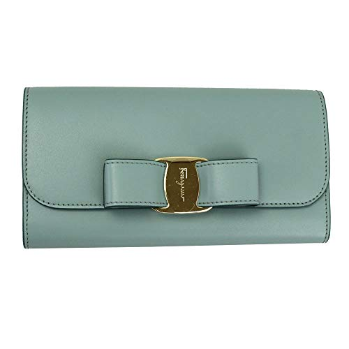 Salvatore Ferragamo Vara Blue Leather Bifold Long Wallet Blue Haze