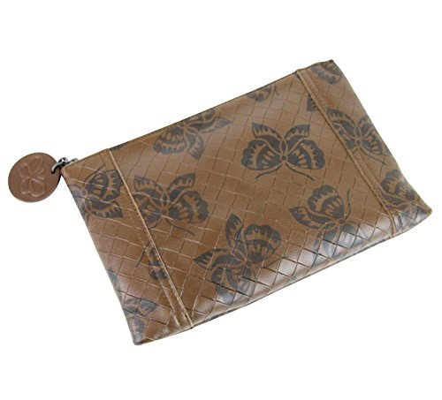 Bottega Veneta Brown Intrecciomirage Leather Pouch Bag Butterfly Clutch