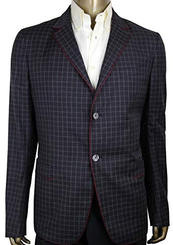 Gucci Men's Gauze Dark Blue/Burgundy/Gray Wool 2 Buttons Jacket