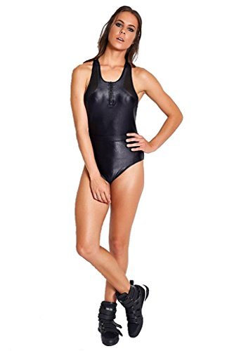 COLCCI FITNESS Black Fashion Cire Top Opening Bodysuit