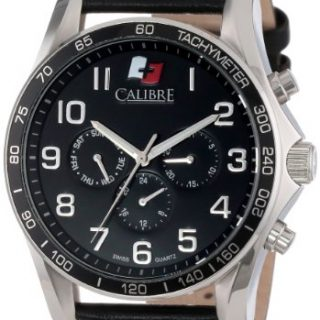"""Calibre Men's """"Buffalo"""" Stainless Steel and Black Leather Watch"""