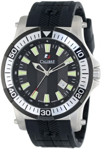"Calibre Men's ""Hawk"" Stainless Steel and Black Rubber Watch"