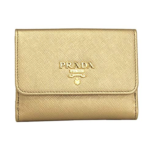 Prada Gold Saffiano Leather Bi-fold Wallet Quarzo Mordore