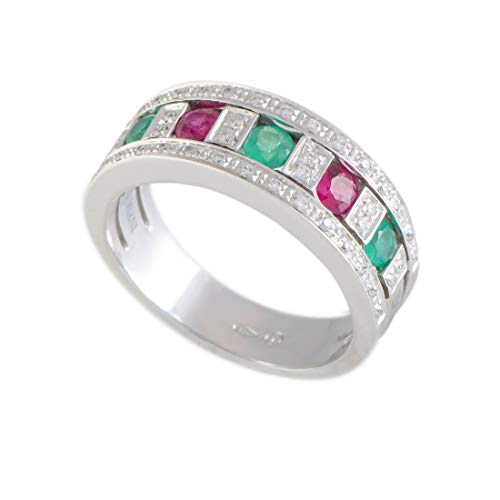 Damiani Belle Epoque 18K White Gold Diamond, Ruby, and Emerald Band Ring