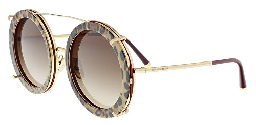 Dolce & Gabbana Women's Round Leo Sunglasses, Bordeaux Leo/Brown, One Size