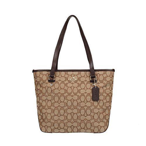 Coach Outline Signature Zip Top Tote Shoulder Bag