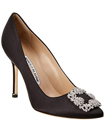 Manolo Blahnik Hangisi Satin Pump, 37, Black