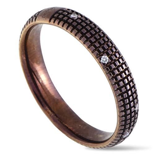 Damiani Metropolitan 18K Brown Gold Diamond Textured Band Ring