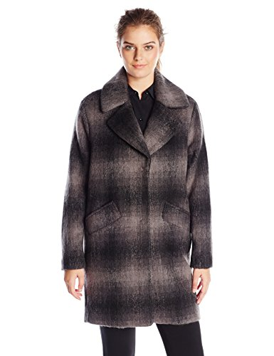 Marc New York by Andrew Marc Women's Emma Brushed Wool Plaid Coat, 8