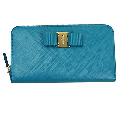Ferragamo Women's Vara Blue Leather Zip Around Long Wallet Clutch