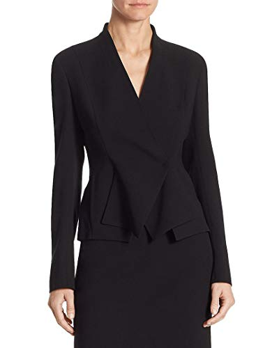 Akris Womens Punto Layered V-Neck Jacket, 6 Black