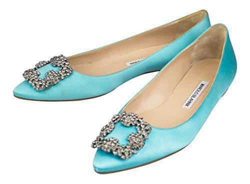 MANOLO BLAHNIK Turquoise Satin Hangisi Heels Shoes 8 US 38 EU