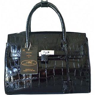 Authentic M Crocodile Skin Womens Belly Locked Clutch Bag