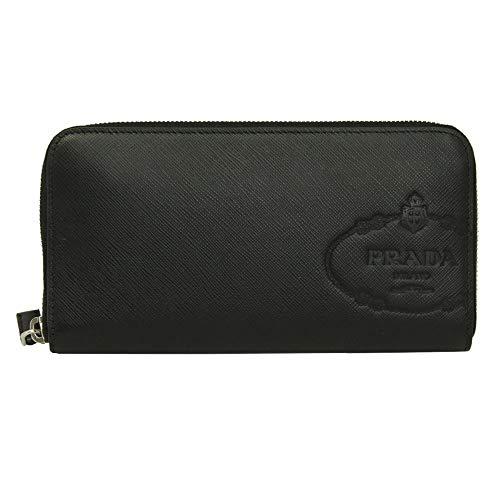 Prada Black Saffiano Leather Zip Around Long Wallet Nero