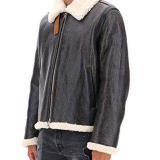 Acne Studios Men's Grey Leather Outerwear Jacket
