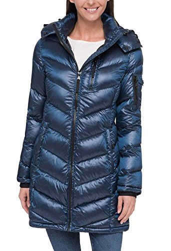 Andrew Marc Ladies' Long Down Jacket (Blue, Large)