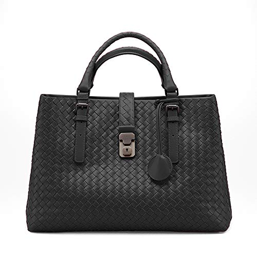 BV-NERO INTRECCIATO CALF MEDIUM ROMA BAG Top-Handle Bags