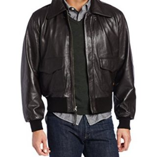 Alpha Industries Men's A-2 Leather Military Flight Jacket, Brown, 3X-Large