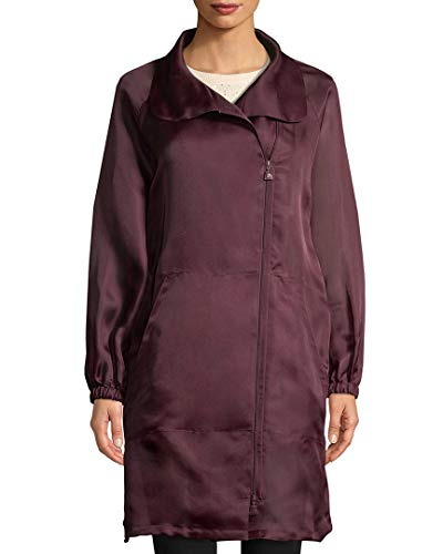 Akris Womens Daylight Silk Long Coat, 6 Purple