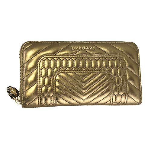 Bvlgari Serpenti Forever Gold Leather Zip Around Long Wallet