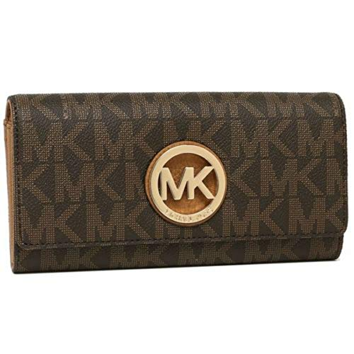 Michael Kors Signature PVC Fulton Flap Wallet in Brown