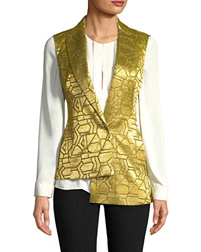 Akris Womens Geometric Print Vest, 4 Yellow