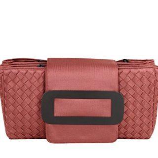 Bottega Veneta Intrecciato Coral Fabric Tote Handbag With Chain Handle