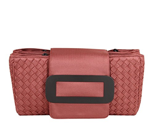 Bottega Veneta Intrecciato Coral Fabric Tote Handbag With Chain Handle