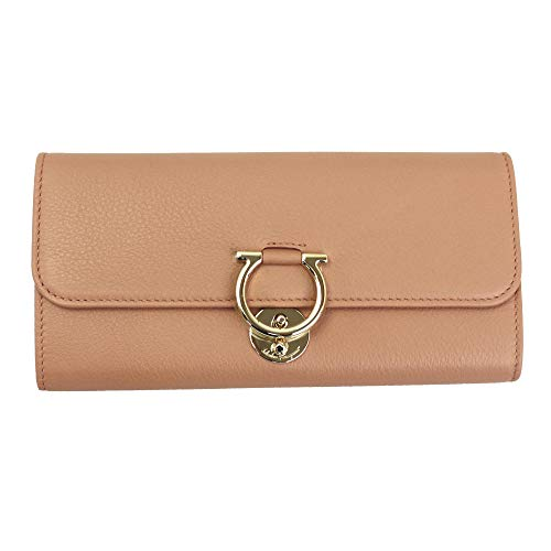 Salvatore Ferragamo Gancini Pink Leather Bifold Long Wallet New Blush
