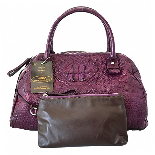 Authentic M Crocodile Skin Womens Bag Purse Hobo W/Wallet