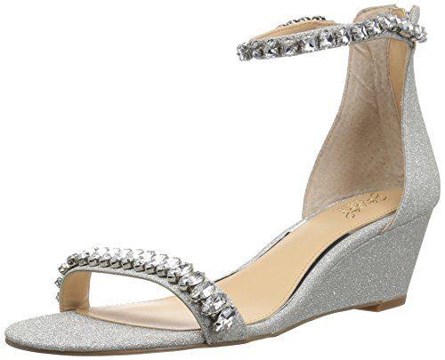 Badgley Mischka Jewel Women's Mel Wedge Sandal, Silver Glitter