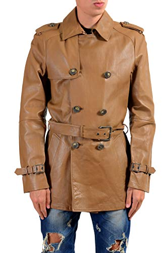 Versace Collection Men's 100% Leather Brown Belted Peacoat US S IT 48